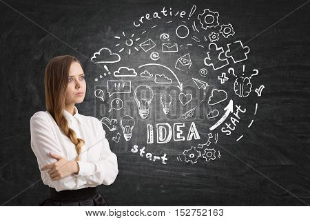 Girl with braided hair is standing near round startup sketch drawn on blackboard. Concept of small business development