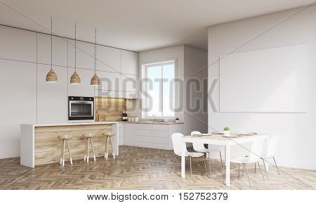 Side view of kitchen with oven sink countertops and window. Concept of healthy food. 3d rendering. Mock up.