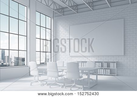 Close Up Of Poster And Conference Room Table And City View