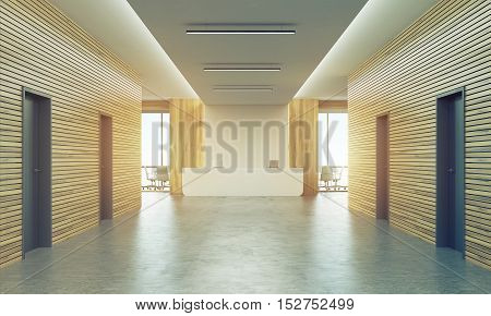 Sunlit Office Corridor With Reception Counter