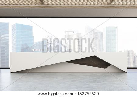 Close Up Of Reception Counter And Large Window
