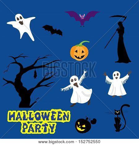 halloween set icons over blue background vector illustration