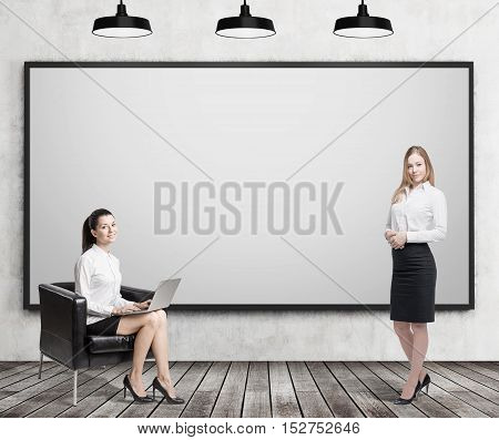Girl with laptop sitting with her laptop in leather armchair near blank whiteboard while her colleague with coffee is standing. Concept of business education. 3d rendering. Mock up