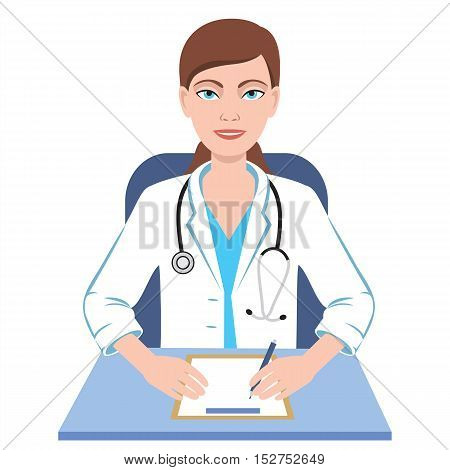 Famale general practioner. Illustration of a smiling doctor woman.