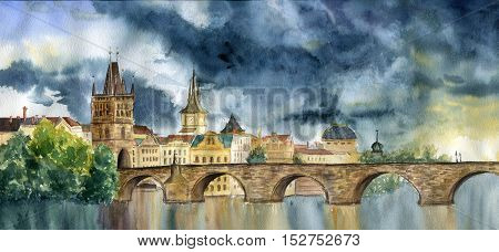 Watercolor hand painting Praha and Karlov most. Illlustration with Tower and the bridge, view of the city