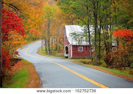 Scenic drive across New England fall foliage