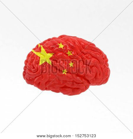 China. Flag on Human brain. 3D illustration.