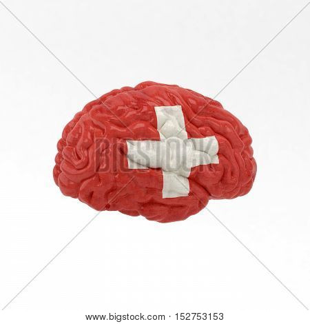 Switzerland. Flag on Human brain. 3D illustration.
