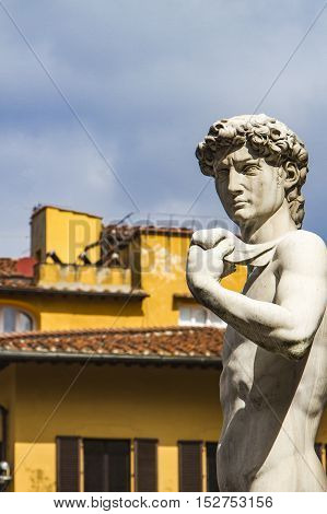 Reproduction Of Michelangelo Statue David In Front Of Palazzo Vecchio In Florence