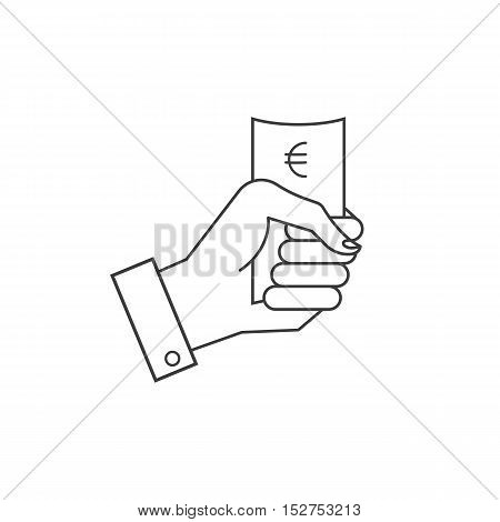 Vector icons, hand holding a paper or money.