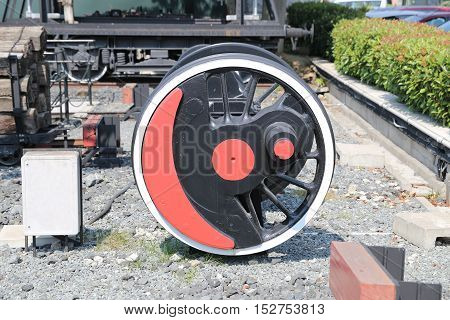 Red and White Wheels of Steam Engine Locomotive