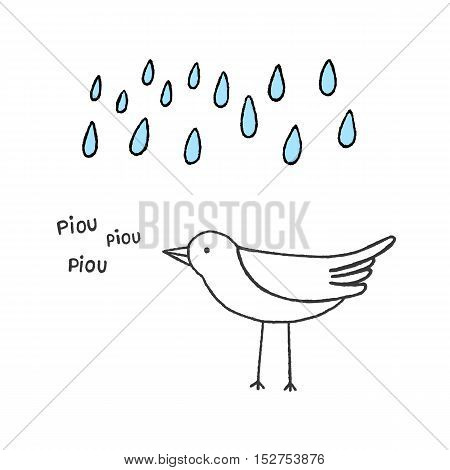 Bird singing in the rain hand drawn vector illustration