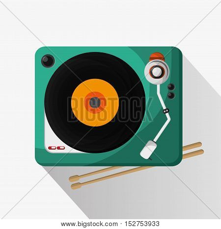 Vinyl instrument icon. Music sound musical and communication theme. Colorful design. Vector illustration