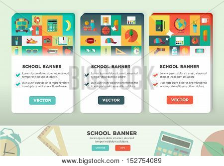Back to school concept for web and promotional materials. Mosaic icons set.