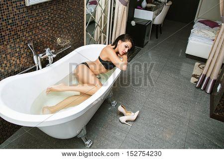 Woman Enjoys A Bath