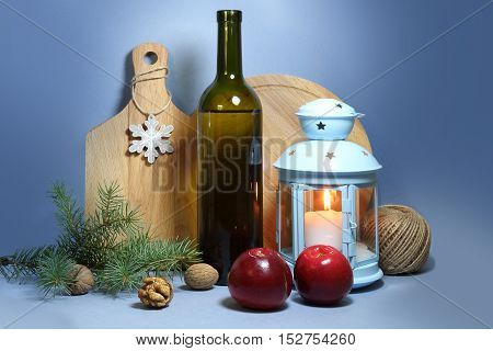 Christmas comes into the house - still life with apples and candle