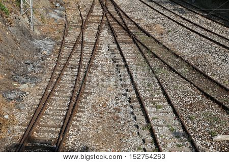 Aerial view of old railroad train truck