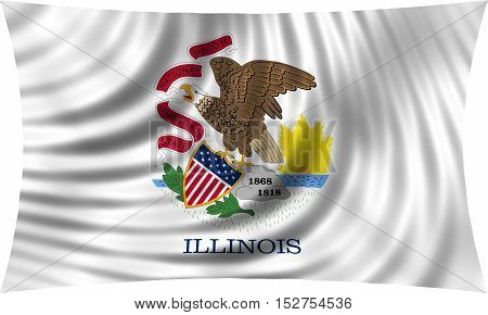 Flag of the US state of Illinois. American patriotic element. USA banner. United States of America symbol. Illinoisan official flag waving isolated on white 3d illustration