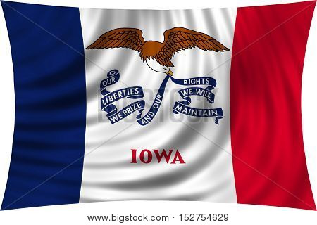 Flag of the US state of Iowa. American patriotic element. USA banner. United States of America symbol. Iowan official flag waving isolated on white 3d illustration