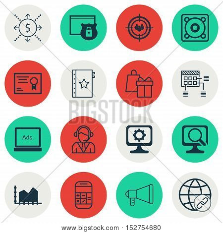 Set Of 16 Universal Editable Icons For Airport, Marketing And Education Topics. Includes Icons Such