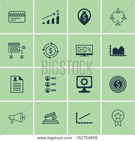Set Of 16 Universal Editable Icons For Advertising, Marketing And Computer Hardware Topics. Includes