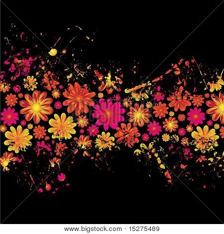brightly colored floral ink splat design with black background