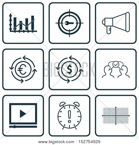 Set Of 9 Universal Editable Icons For Seo, Statistics And Travel Topics. Includes Icons Such As Squa
