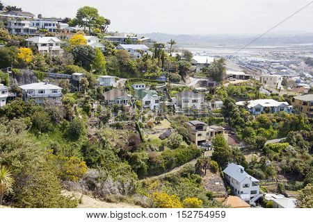 The view of Napier town residential houses (New Zealand).