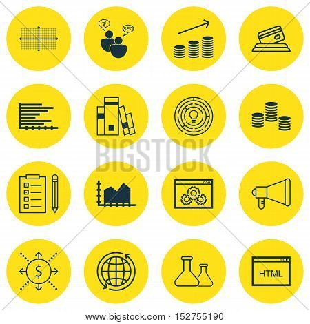 Set Of 16 Universal Editable Icons For Education, Marketing And Project Management Topics. Includes
