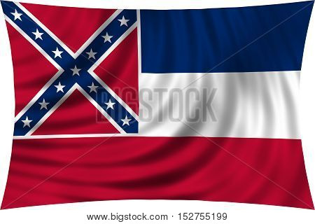 Flag of the US state of Mississippi. American patriotic element. USA banner. United States of America symbol. Mississippian official flag waving isolated on white 3d illustration