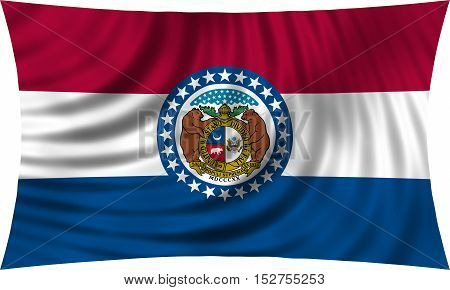 Flag of the US state of Missouri. American patriotic element. USA banner. United States of America symbol. Missourian official flag waving isolated on white 3d illustration