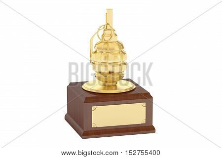 Golden Military Award grenade 3D rendering isolated on white background