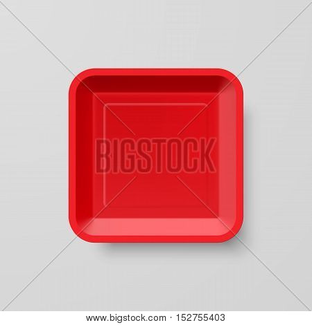 Empty Red Plastic Food Square Container on Gray Background