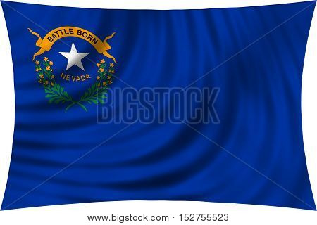 Flag of the US state of Nevada. American patriotic element. USA banner. United States of America symbol. Nevadan official flag waving isolated on white 3d illustration