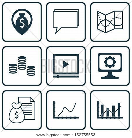 Set Of 9 Universal Editable Icons For Project Management, Computer Hardware And Airport Topics. Incl