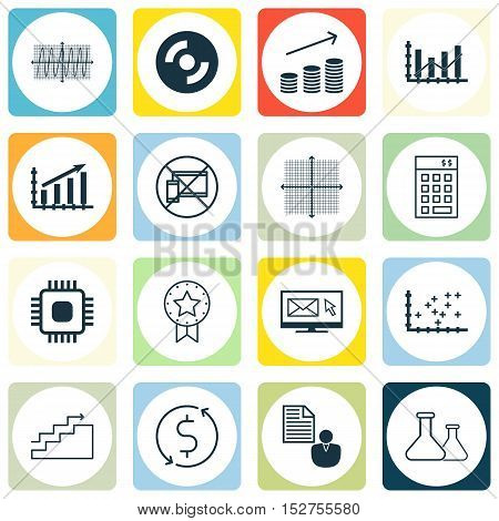 Set Of 16 Universal Editable Icons For Statistics, Education And Human Resources Topics. Includes Ic
