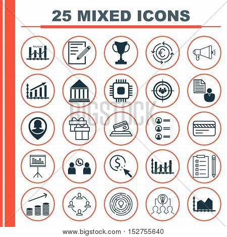 Set Of 25 Universal Editable Icons For Human Resources, Advertising And Business Management Topics.