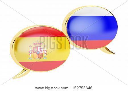 Speech bubbles Spanish-Russian translation concept. 3D rendering