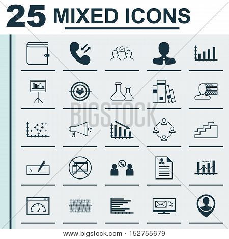 Set Of 25 Universal Editable Icons For Marketing, Human Resources And Statistics Topics. Includes Ic