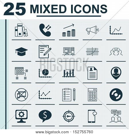 Set Of 25 Universal Editable Icons For Human Resources, Computer Hardware And Project Management Top