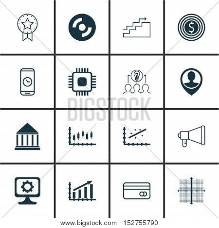 Set Of 16 Universal Editable Icons For Airport, Computer Hardware And Business Management Topics. In