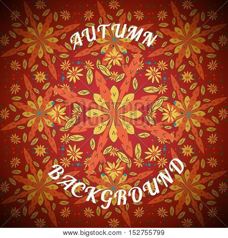 Vector illustration of autumn background with text.