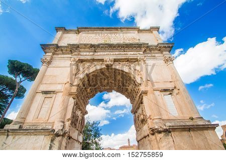 Rome, Italy, October 16, 2016: The Arch of Roman emperor Titus on Forum Romanum, Rome, Lazio, Italy