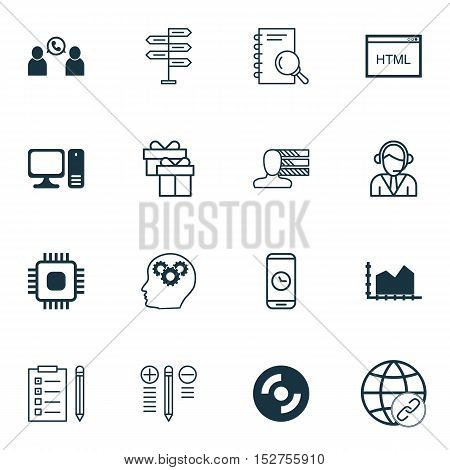 Set Of 16 Universal Editable Icons For Project Management, Advertising And Marketing Topics. Include