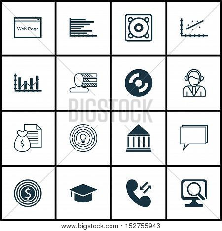 Set Of 16 Universal Editable Icons For Project Management, Education And Computer Hardware Topics. I