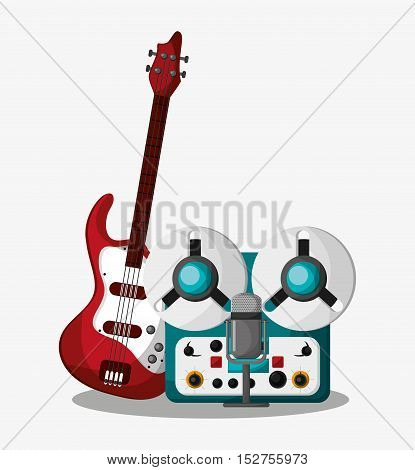 Electric guitar and recorder icon. Music sound musical and communication theme. Colorful design. Vector illustration