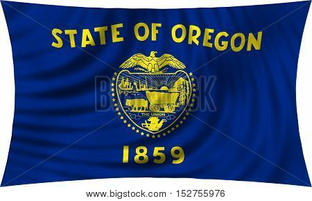 Flag of the US state of Oregon. American patriotic element. USA banner. United States of America symbol. Oregonian official flag waving isolated on white 3d illustration