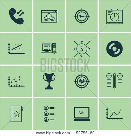 Set Of 16 Universal Editable Icons For Marketing, Project Management And Advertising Topics. Include