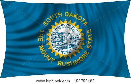 Flag of the US state of South Dakota. American patriotic element. USA banner. United States of America symbol. South Dakotan official flag waving isolated on white 3d illustration
