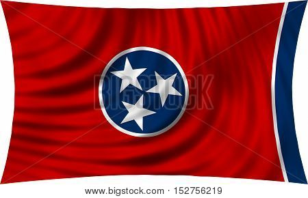 Flag of the US state of Tennessee. American patriotic element. USA banner. United States of America symbol. Tennessean official flag waving isolated on white 3d illustration